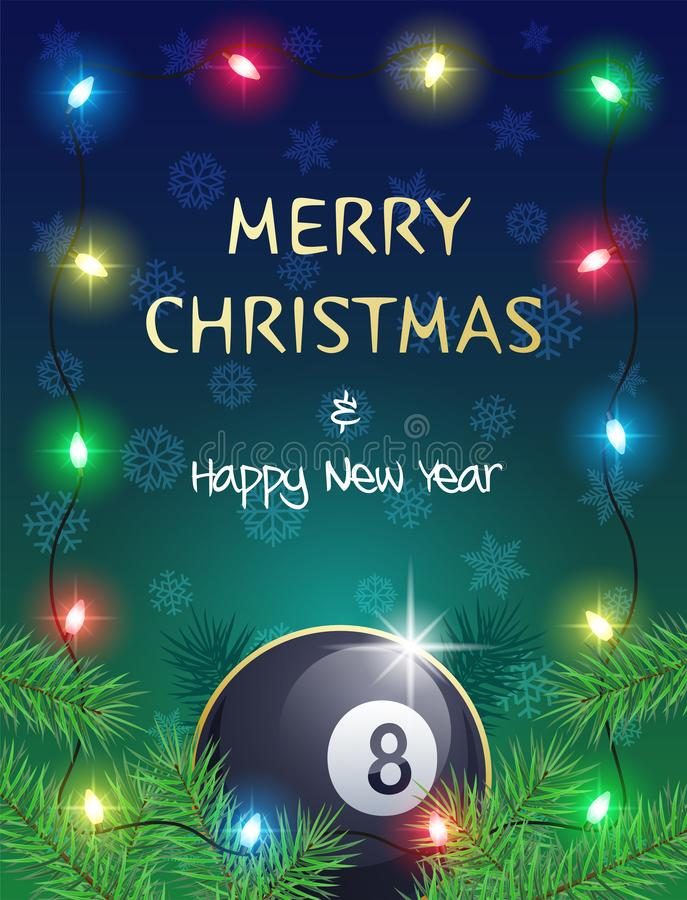 Christmas Sports greeting card with Billiard ball and Christmas Lights. Merry Christmas and Happy New Year. Sports greeting card with Billiard ball and vector illustration