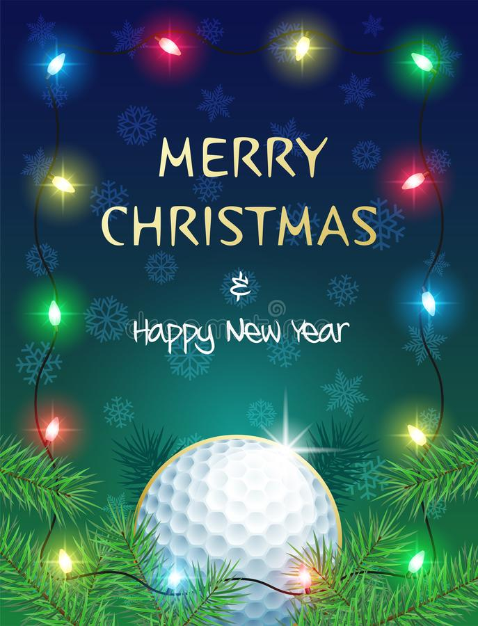 Christmas Sports greeting card with Golf ball and Christmas Lights. Merry Christmas and Happy New Year. Sports greeting card with Golf ball and Christmas Lights stock illustration