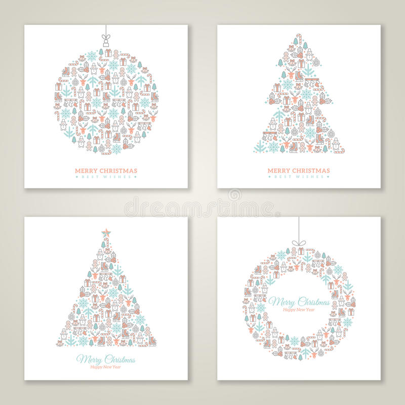 Christmas square cards design collection. vector illustration