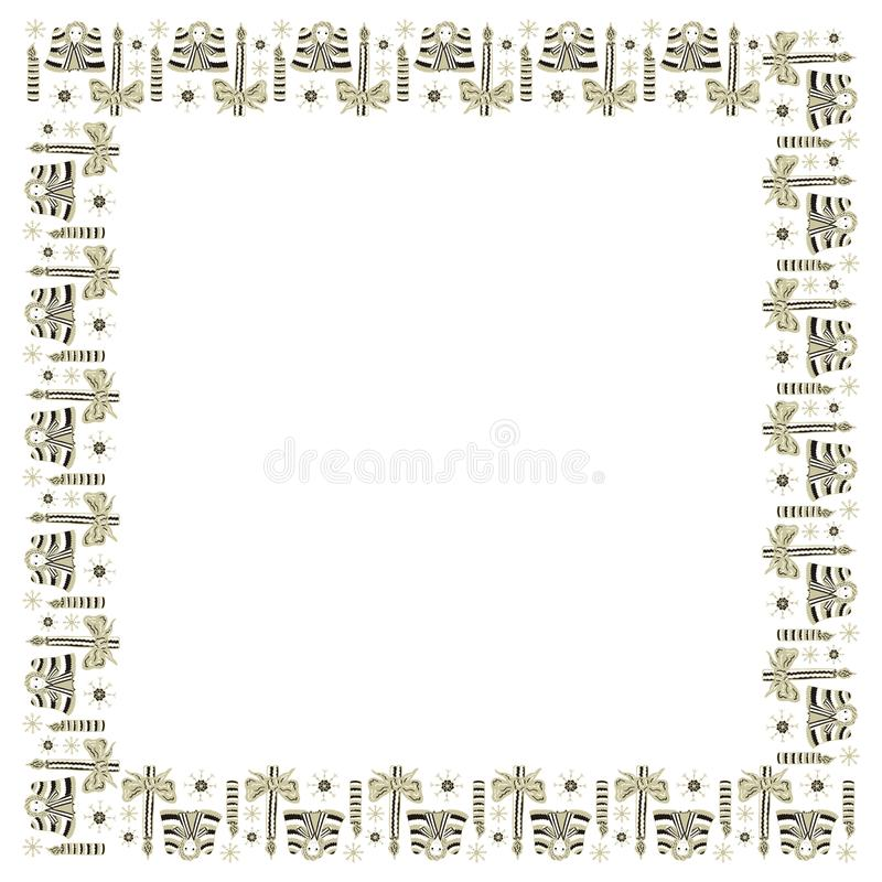 Christmas square frame template from hand-drawn angels, candles and snowflakes on a white background. Decorative element for text stock illustration