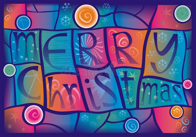 Christmas stained glass vector illustration
