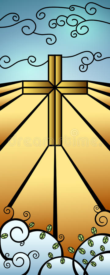 Christmas Stained Glass Nativity Banner royalty free illustration