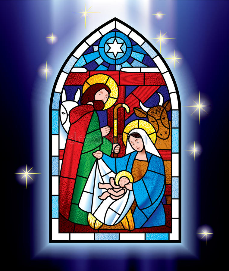 Christmas stained glass window stock vector illustration