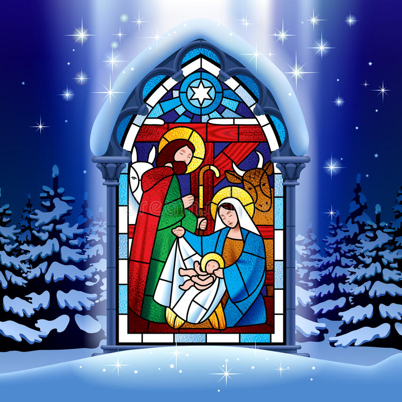 Christmas stained glass window in winter forest. Illuminated stained glass window depicting Christmas scene in gothic frame against the night winter spruce stock illustration