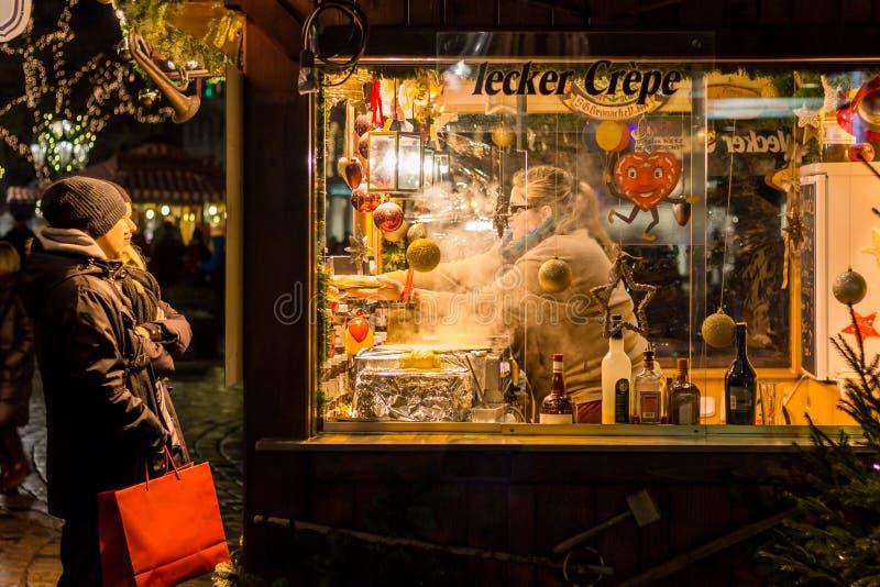 Christmas stall- Nuremberg (Nuernberg), Germany- pancakes stock photography