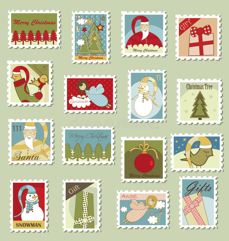 Download Christmas Stamps stock vector. Image of birds, labels - 17803581