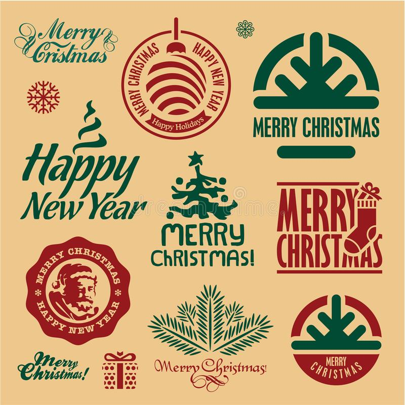 Christmas stamps. Merry Christmas and Happy New Year labels. vector illustration
