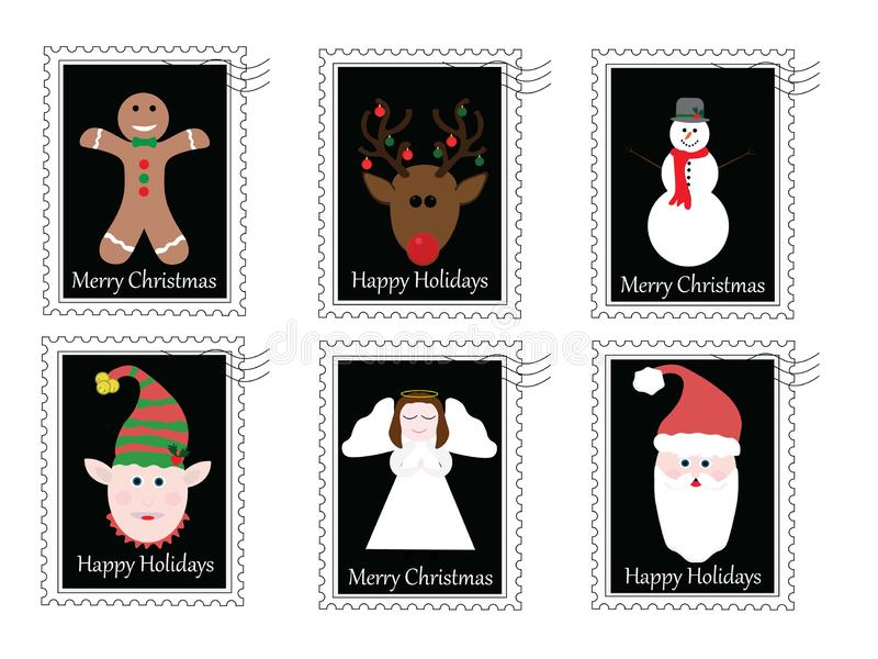 6 Christmas stamps vector illustration