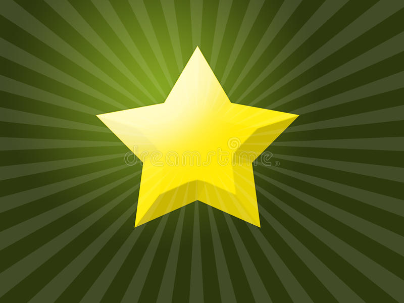 Christmas star. With reflex on green background royalty free illustration