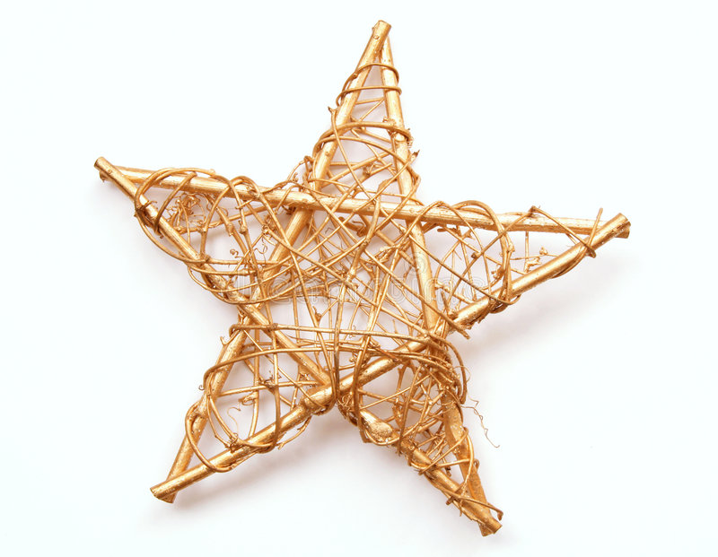 Christmas star. Gilded Christmas star on white background stock images