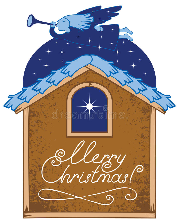 Christmas star. Angel with a trumpet and a Christmas star vector illustration