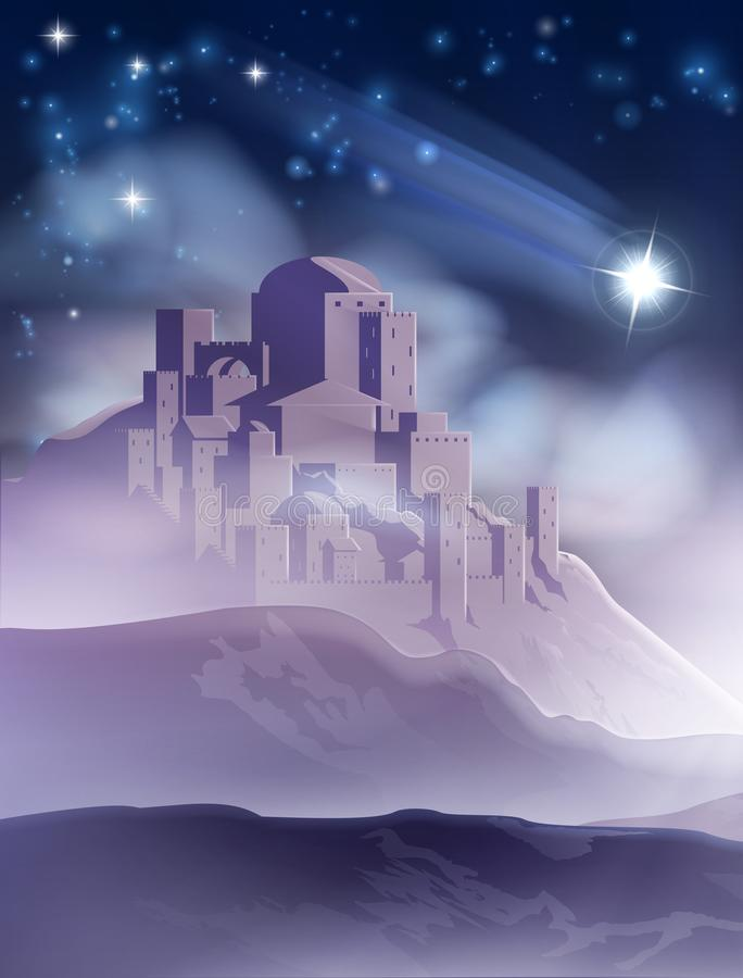 The Christmas Star of Bethlehem Illustration. A nativity Christmas illustration of the star of Bethlehem which led the wise men or magi to Jerusalem and the of royalty free illustration