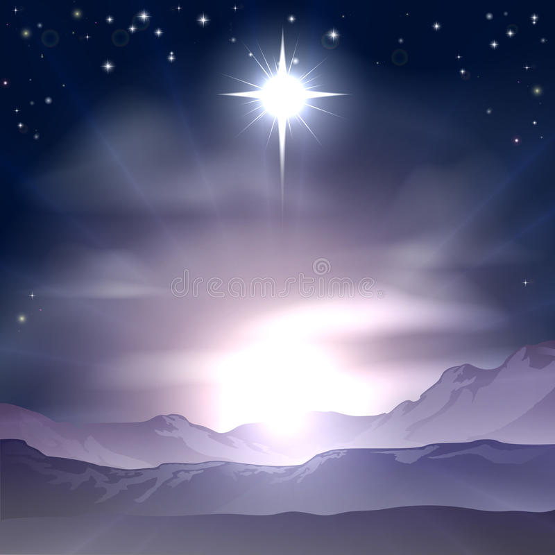 Christmas Star of Bethlehem Nativity. A Christian Christmas illustration of the Star of Bethlehem that the wise men followed over the dessert landscape. A royalty free illustration