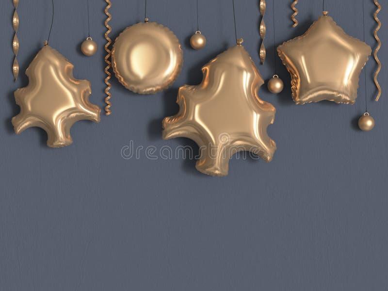 3d rendering christmas star circle balloon gold metallic grey wall vector illustration