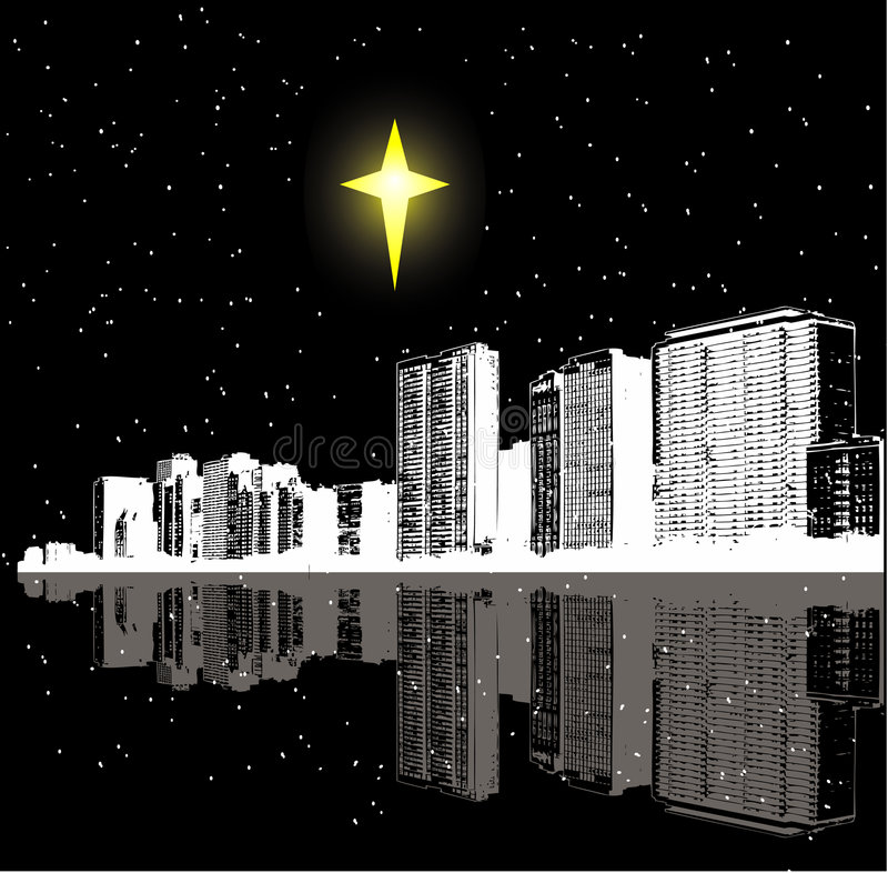Christmas star and city royalty free illustration