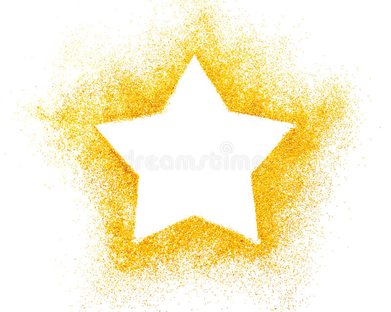 Christmas star decoration of golden confetti stars against white stock images