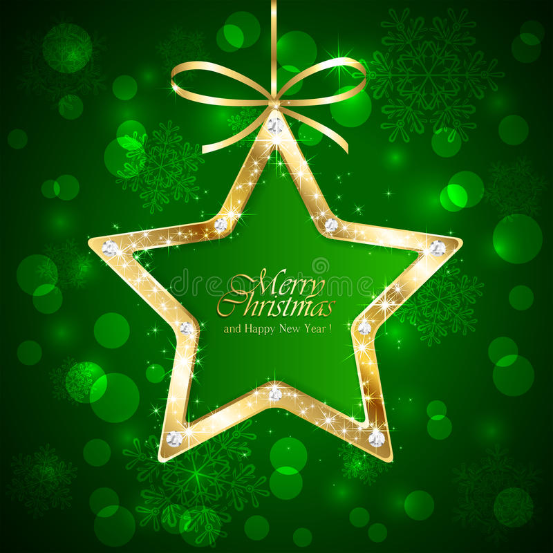 Christmas star with diamonds on green background stock