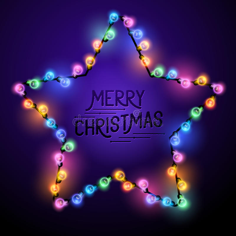 Christmas Star Lights. Christmas Star - Seasonal decorations with colourful lights and Merry Christmas text. Vector illustration royalty free illustration