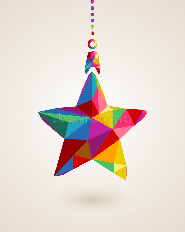Christmas star multicolors hanging bauble vector illustration