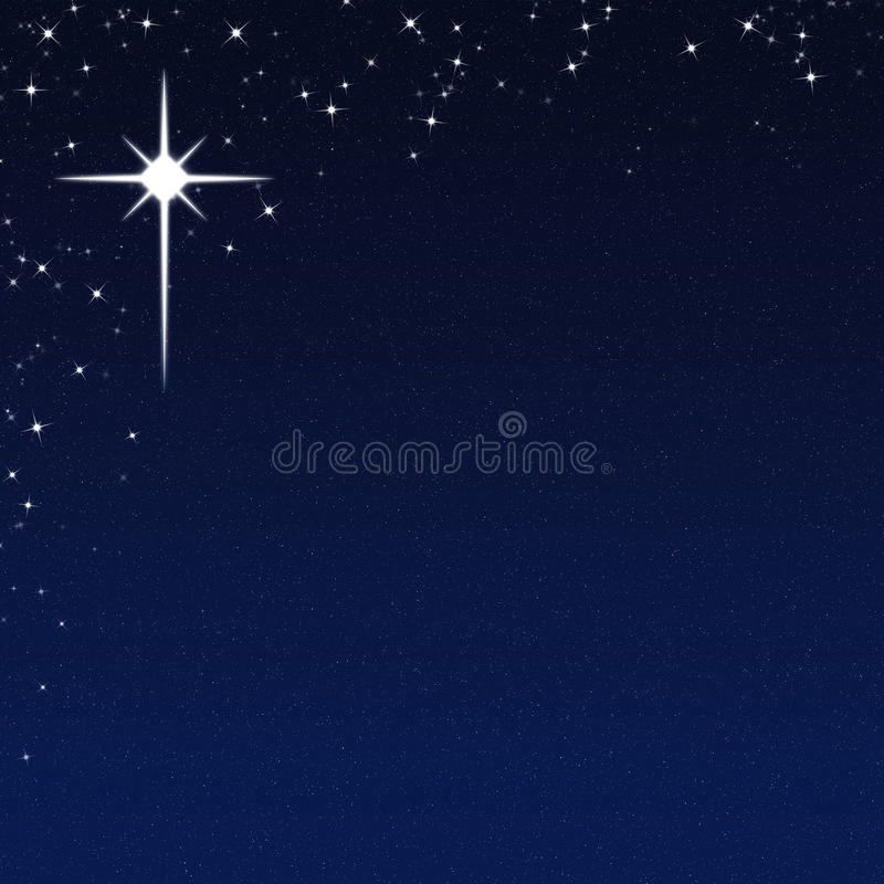 Free Christmas Star On A Starry Night Sky Background Royalty Free Stock Photos - 35739338