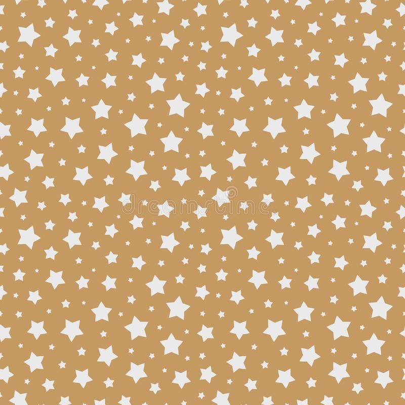 Christmas star seamless pattern white color on gold background for christmas sale vector illustration