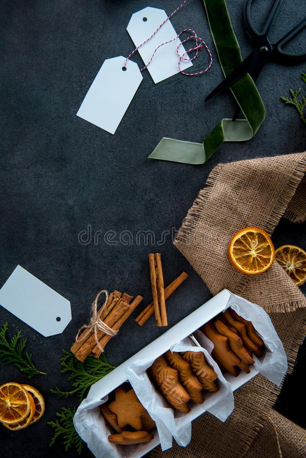 Christmas star shaped gingerbread cookies in paper box ready to royalty free stock photo