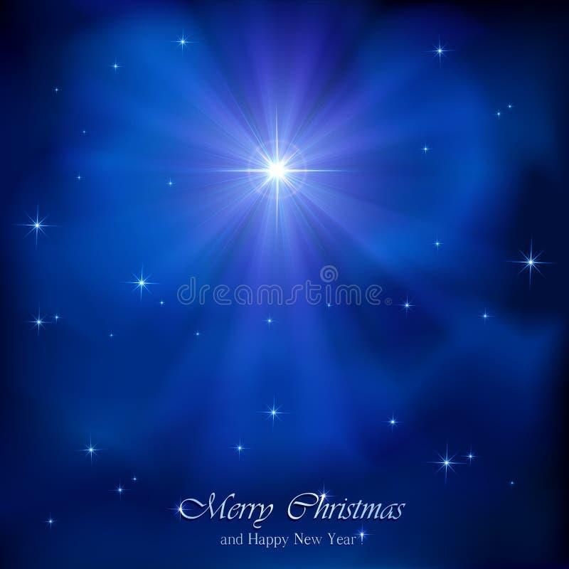 Christmas star. Shining Christmas star in the blue night sky, illustration royalty free illustration