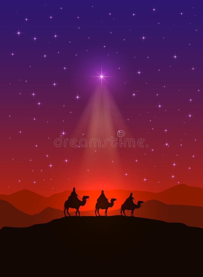 Christmas star and three wise men vector illustration