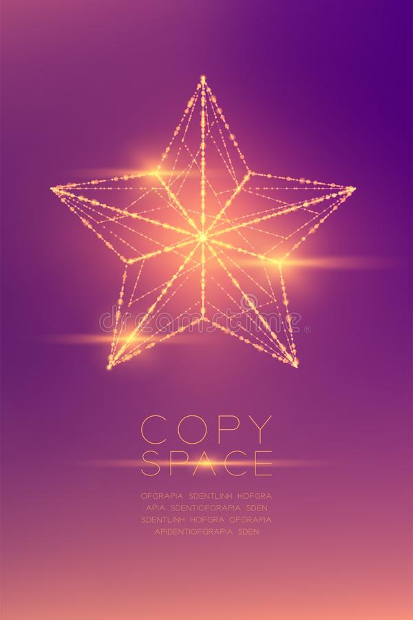 Christmas Star wireframe polygon bokeh light frame structure and lens flare, Technology connection concept design illustration iso royalty free illustration