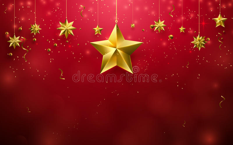 Christmas stars ornament hanging on red background vector illustration