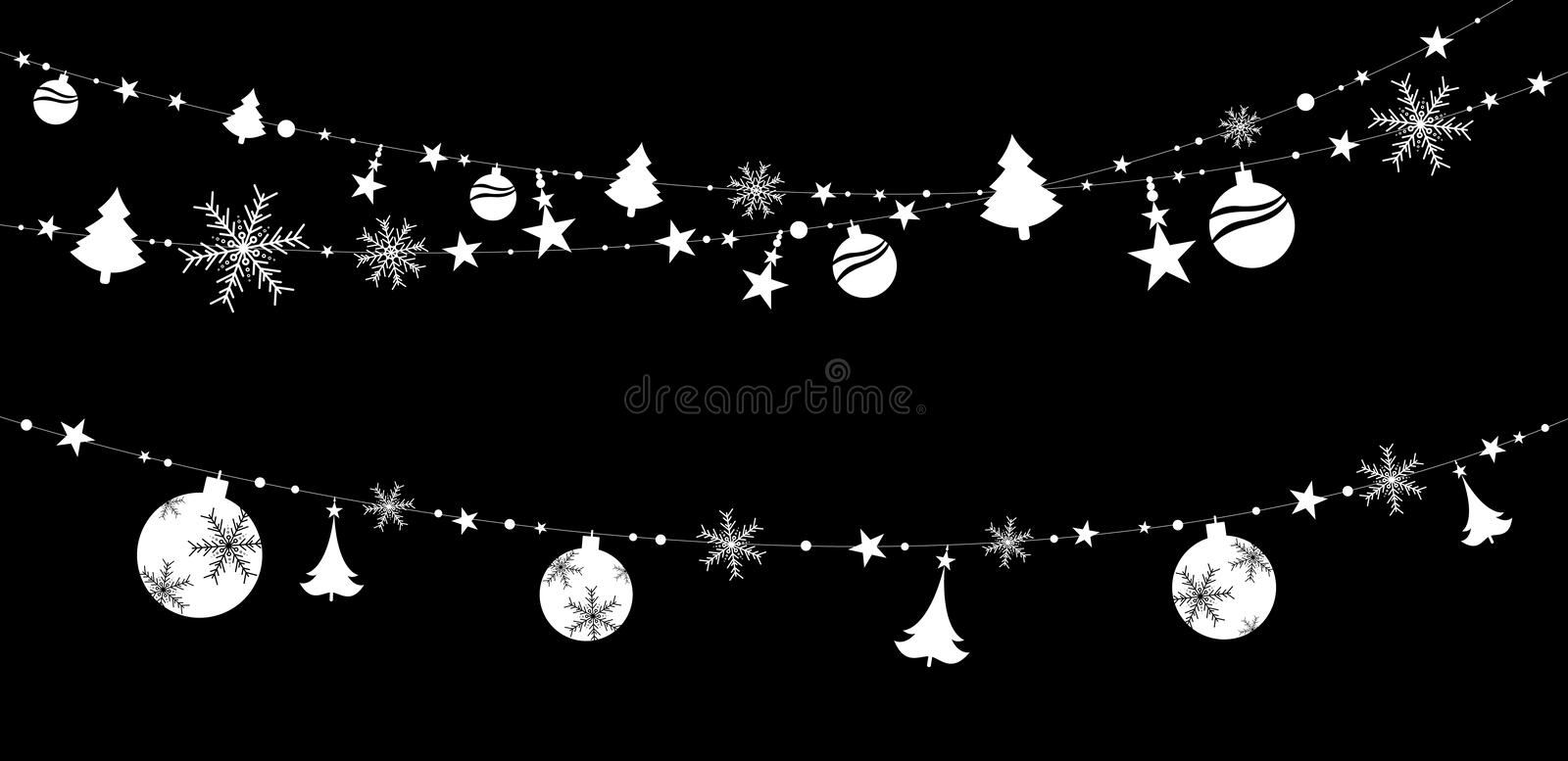 Christmas sticker decoration isolated on black background vector illustration stock illustration