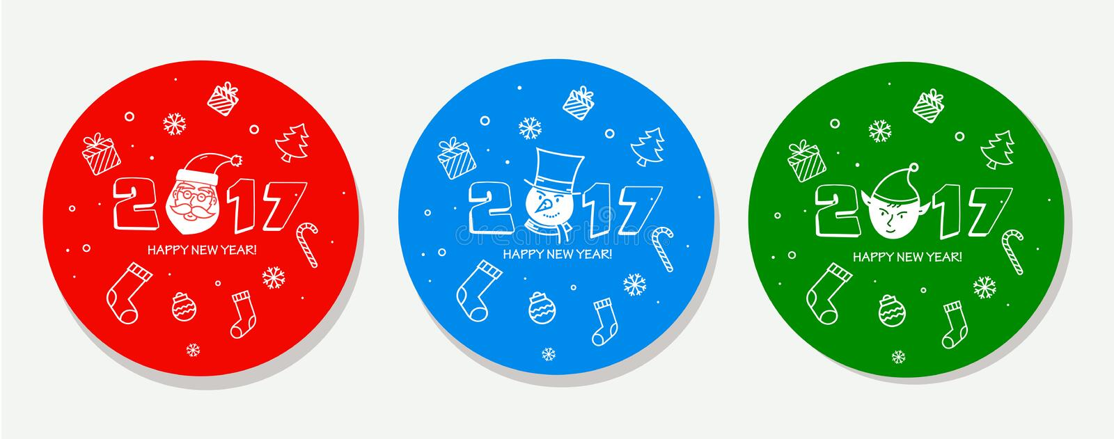 Christmas Sticker set. stock illustration