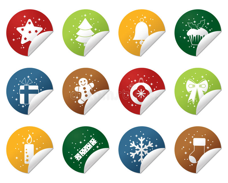 Download Christmas stickers stock vector. Image of snowflake, ribbon - 17021266