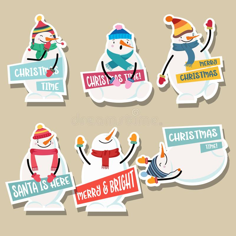 Christmas stickers collection with snowman vector illustration