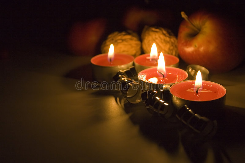 Christmas still life. With candles royalty free stock photo