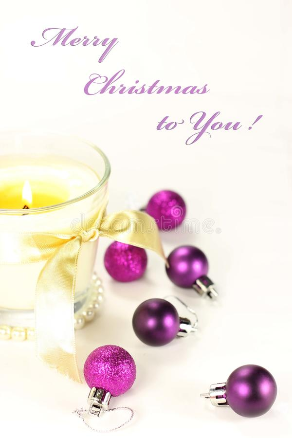Christmas still life with candle and decorations royalty free stock photos
