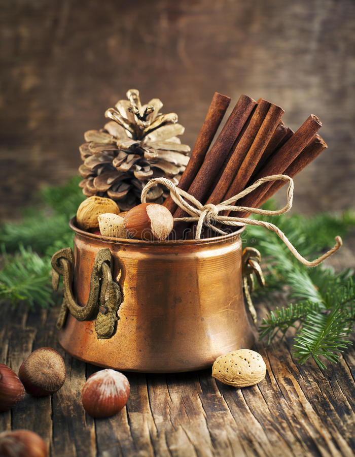 Christmas still life: cinnamon, nuts and fir branches royalty free stock photos