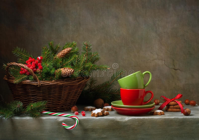 Christmas still life with cups royalty free stock image