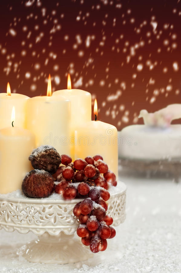 Christmas Still Life With Grapes stock images