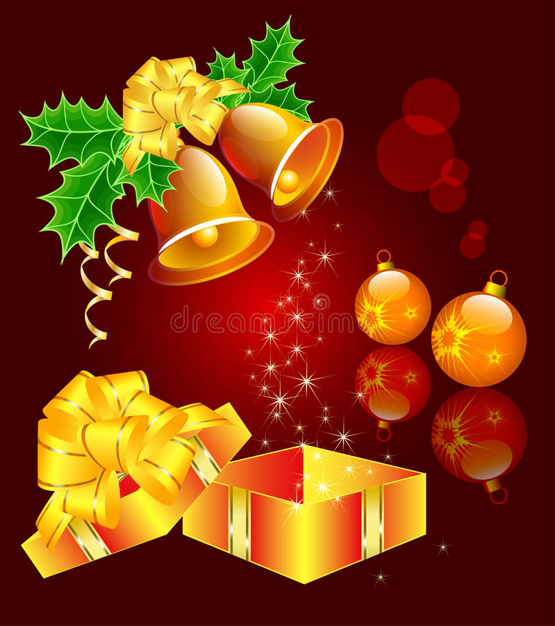 Download Christmas Still-life With Hand Bells, Christmas-tr Stock Vector - Image: 21896468