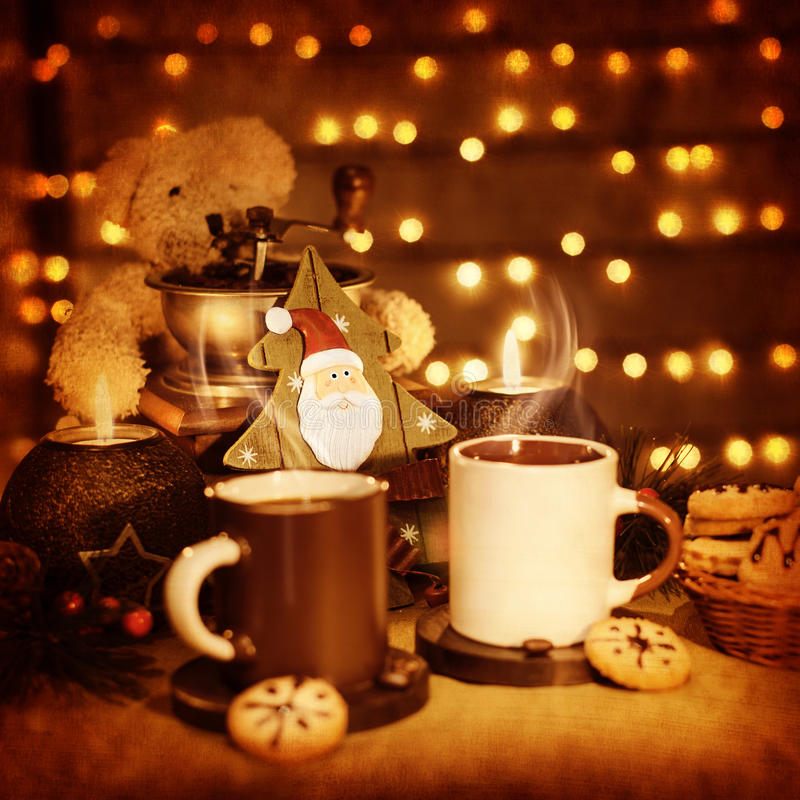 Image Of Beautiful Christmastime Still Life, Traditional Gingerbread With  Coffee Cups On The Table, Teddy Bear With Decorative Wooden Christmas Tree  Adorn ...