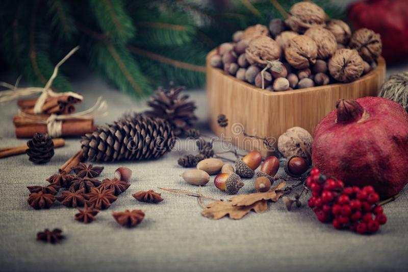Christmas still life of nuts, spruce branches, acorns, alder cones and pomegranate, laid out on rough fabric stock photography