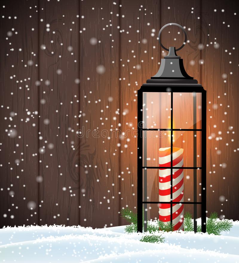 Christmas still-life with old lantern on wooden background. Christmas still-life with old black lantern on dark brown wooden background, vector illustration, eps royalty free illustration