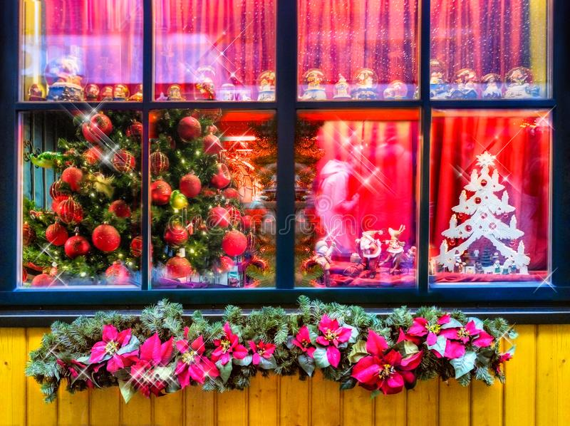 Christmas still life with wooden window. Celebration background, high resolution image stock photos