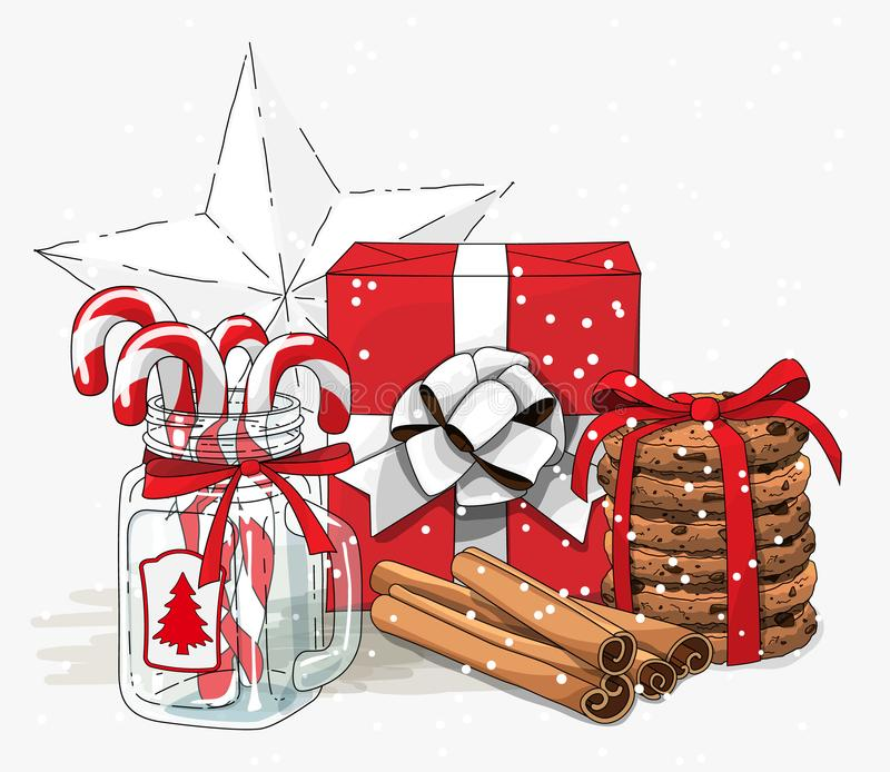 Christmas still-life, red gift box wit white ribbon, cookies, glass jar with candy canes and cinnamon sticks on white. Background, vector illustration, eps 10 stock illustration