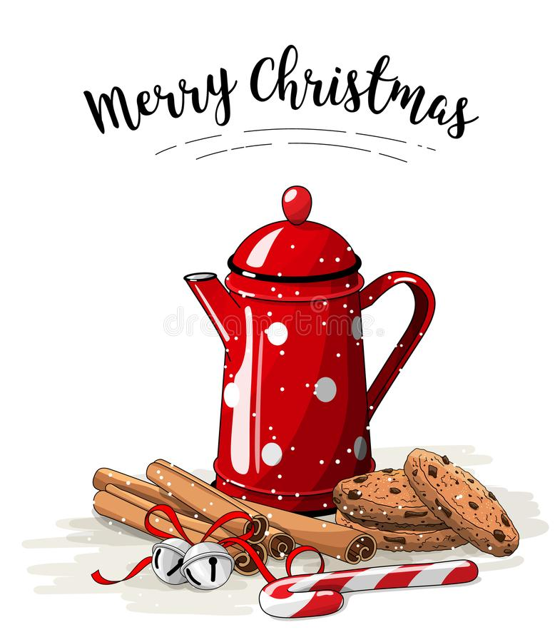 Christmas still-life, red tea pot, brown cookies, cinnamon sticks and jingle bells on white background, illustration. Christmas still-life, red tea pot, brown vector illustration