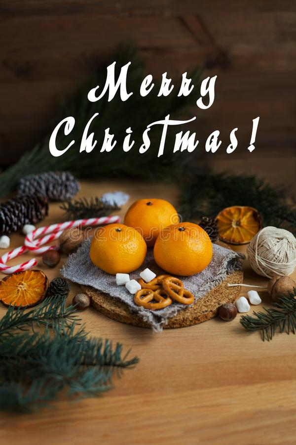 Christmas still life with tangerines and fir tree stock images