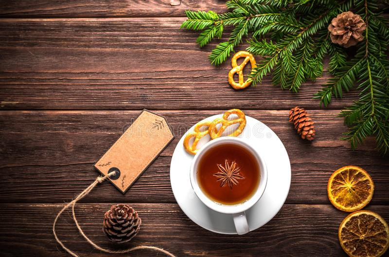 Christmas still life with tea stock image