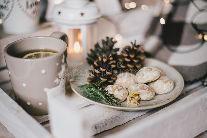 Christmas still life with tea, lights, cones and cookies. Christmas still life with hot tea in pretty mug with deers, christmas lights, cones and fresh cookies royalty free stock photos