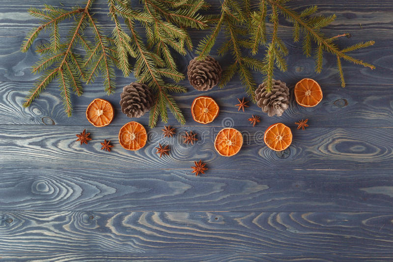Christmas still life with traditional gingerbread cookies on woo stock photo